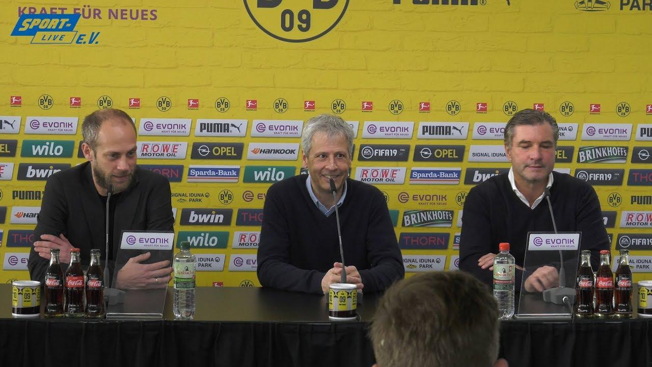 Pressekonferenz mit Michael Zorc und Lucien Favre vor dem Spiel gegen den VfB Stuttgart