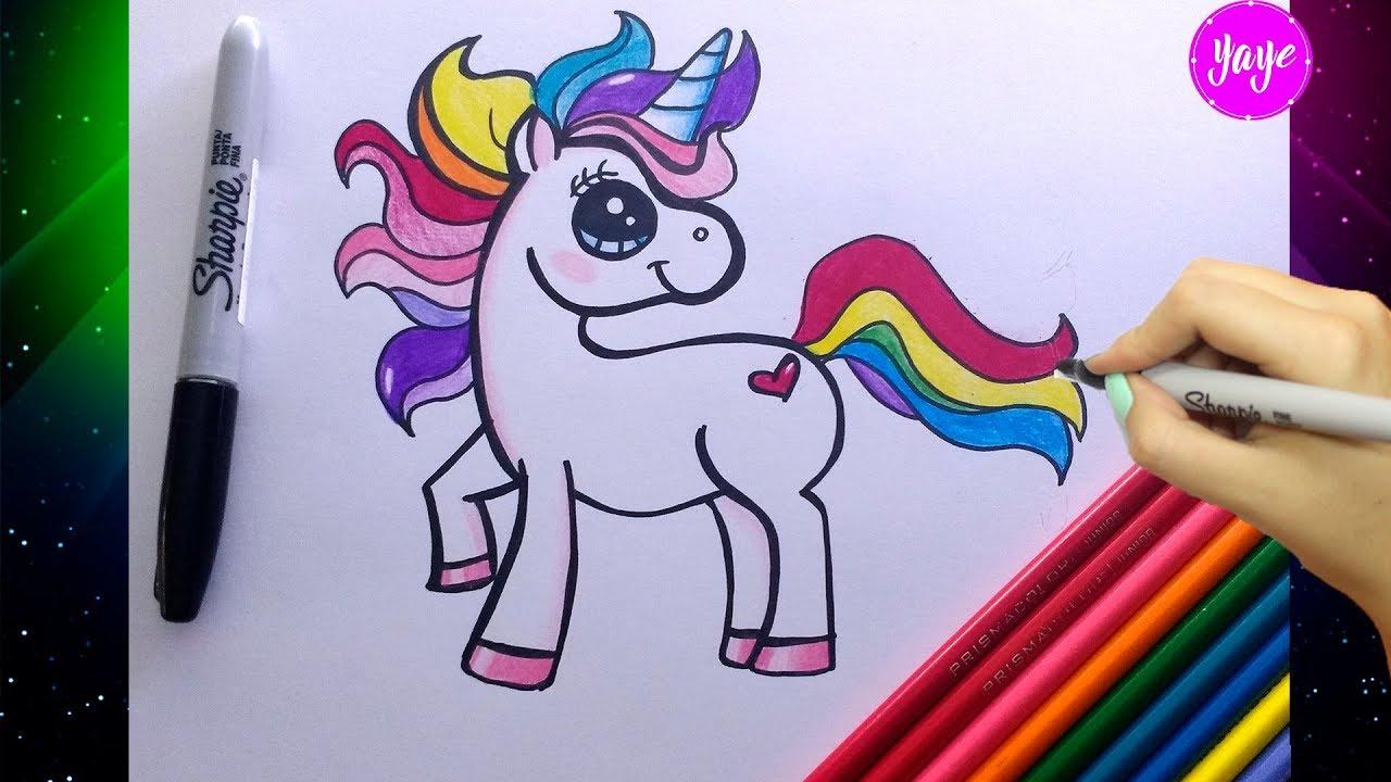 HOW TO DRAW UNICORN RAINBOW CUTE AND EASY - Cómo dibujar ...
