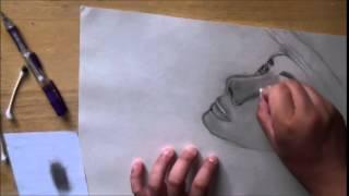 Drawing of Sandra Bullock in Gravity