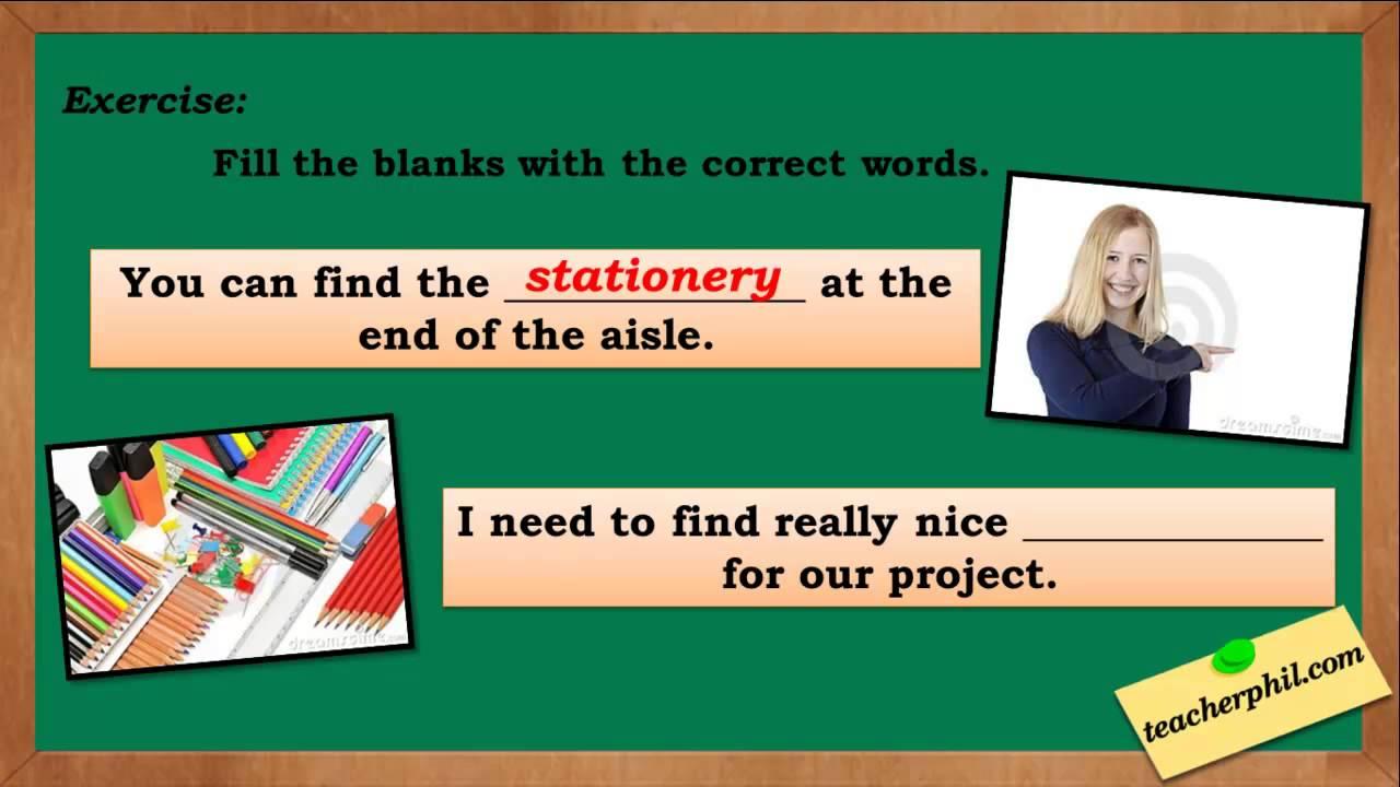 Stationary vs Stationery - YouTube