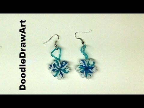 Craft Elastic Snowflake Earrings Rainbow Loom Earrings