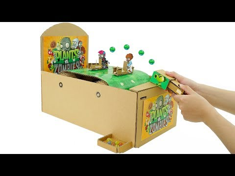 How To Make Plant vs Zombies Arcade Game from Cardboard