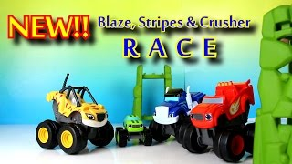 Blaze and the Monster Machines Toy Parody with Stripes while Crusher Cheats