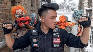 Download Video GUGU Nerf War : SWAT CID Dragon Nerf Guns Fight Criminal Group SKMAN Mask Hunters Of Bad Guys MP3 3GP MP4