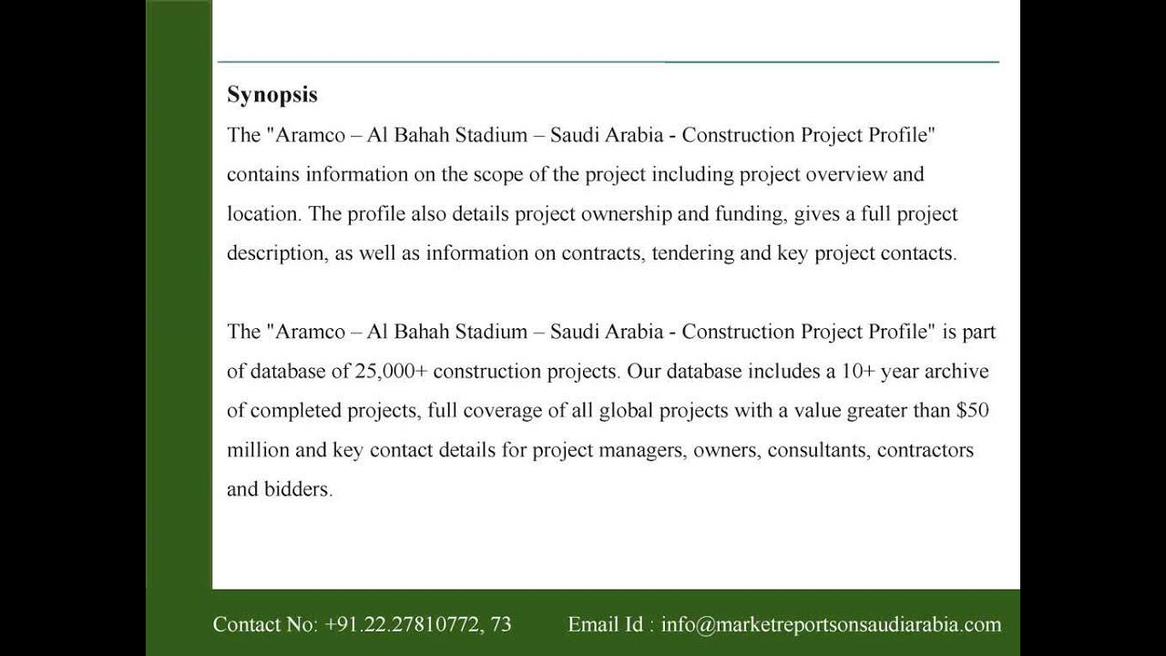 Aramco - Al Bahah Stadium - Saudi Arabia - Construction Project Profile