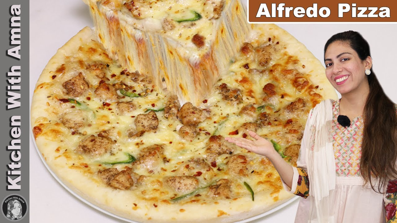 Chicken Alfredo Pizza Recipe Without Oven | Pizza Without Oven | Kitchen With Amna