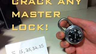 Crack a Masterlock combination lock in 60 seconds! Without knowing the combo!