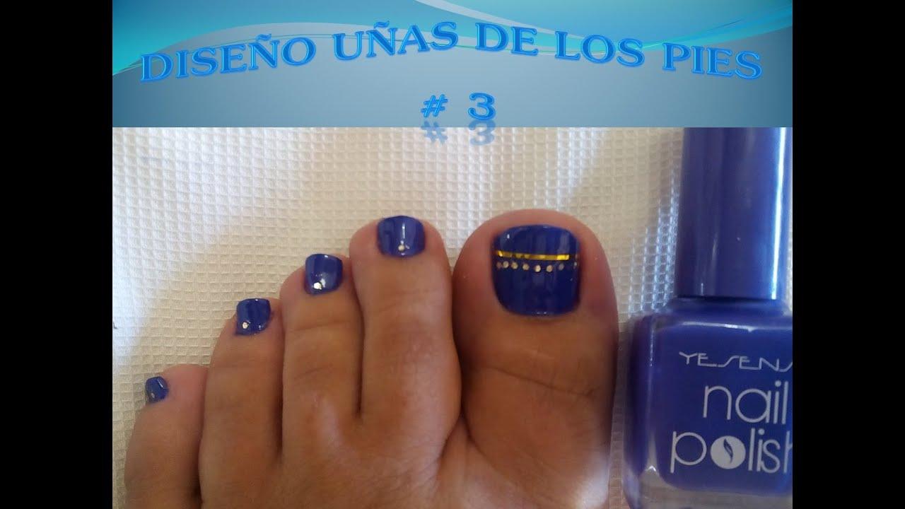 Diseño para uñas de los pies #3 [ FÁCIL Y PASO A PASO!!!! ] - YouTube