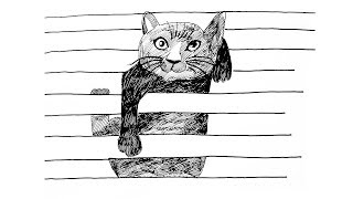 3D Cat Drawing | How to Draw 3D Cat Illusion | Cat Drawing on Line Paper | Lined Paper Trick Art