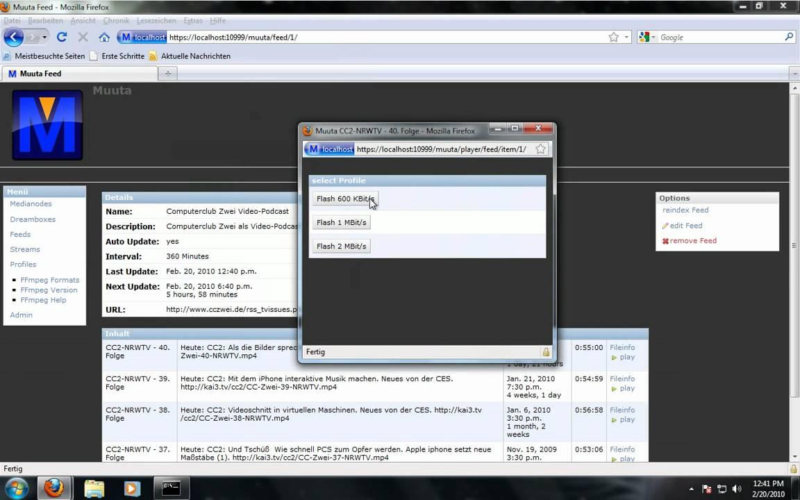 Muuta Streaming Server Installation auf Windows 7