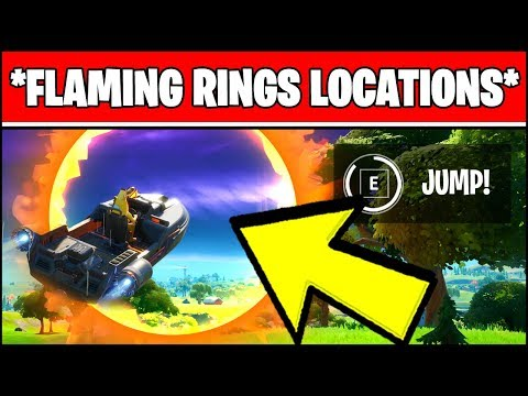 JUMP A MOTORBOAT THROUGH DIFFERENT FLAMING RINGS LOCATIONS (Fortnite Week 3 Challenges)