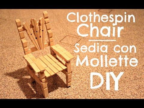 Sedie Fatte Con Mollette Di Legno.Clothespin Chair Sedia Con Le Mollette Youtube