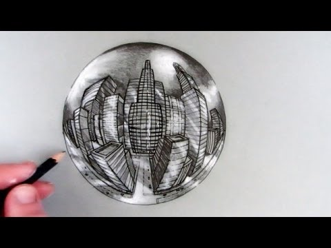 How to draw a city in 5 point perspective in a crystal ball youtube