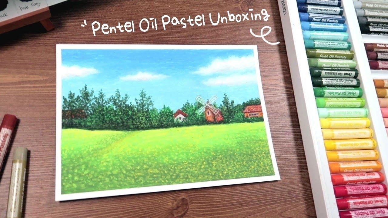 펜텔 오일파스텔 언박싱 & 쉬운 풍경화 그리기 Pentel Oil Pastel Unboxing & Easy landscape drawing