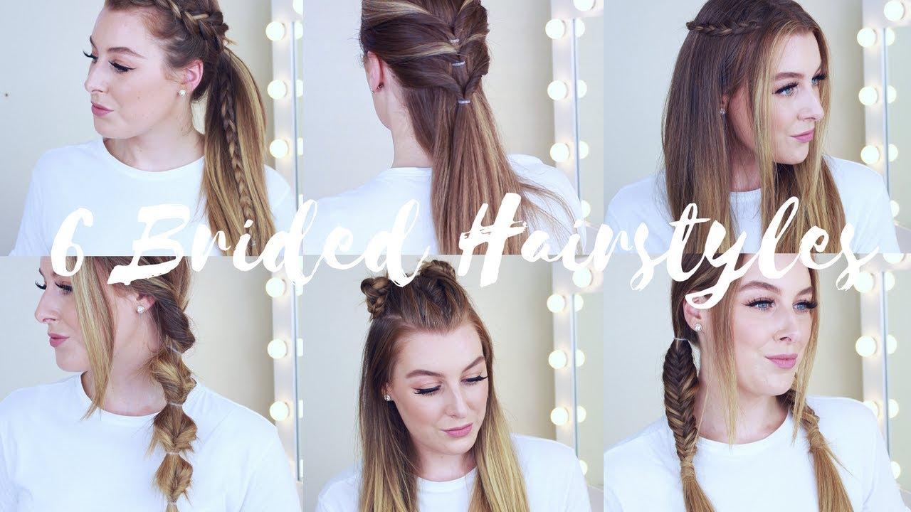 6 cute & easy braided heatless hairstyles for long hair - youtube