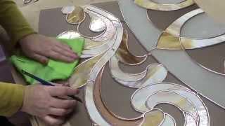 Изготовление и установка витражного потолка. Production and installation of stained glass ceiling.