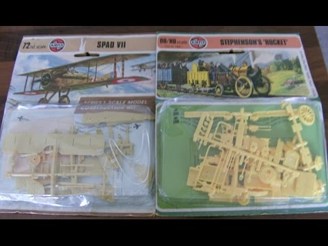 airfix vintage model kits blister pack issues stephensons rocket train spad vii plane
