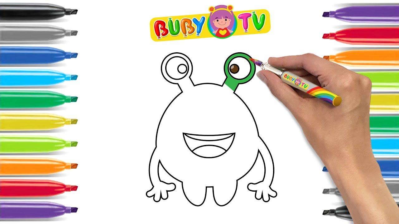 Disegni Facili Per Bambini Come Disegnare E Colorare Un Mostro