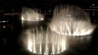 The Dubai Fountain performing Shik Shak Shok