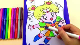 TRANH TÔ MÀU_Hình thủy thủ mặt trăng dễ thương_COLORING FOR KIDS_Color a lovely girl