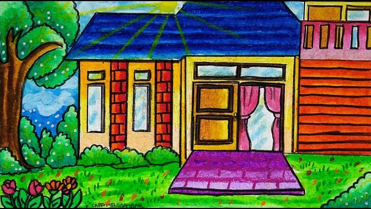 Cara Menggambar Dan Mewarnai Tema Rumah Sederhana Dengan Gradasi Warna Crayon Oil Pastel Buat Pemula Youtube