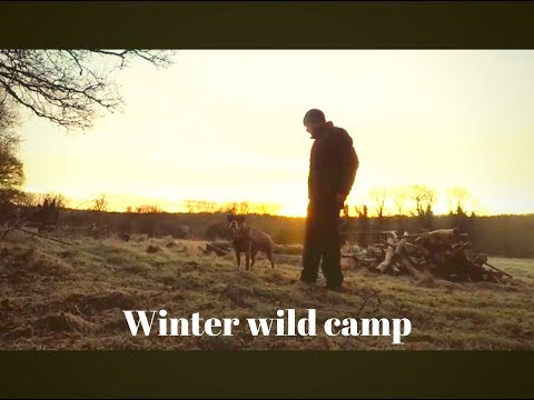 solo winter wild camp, long fire, tarp shelter, camp fire cooking, ferro rod with 3 types of tinder,