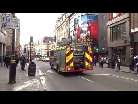 LFB Soho Blue Lights Shaftesbury Avenue London December 22 2017