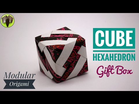 LINE CUBE | HEXAHEDRON  Gift Box - Modular Origami Tutorial by Paper Folds #708