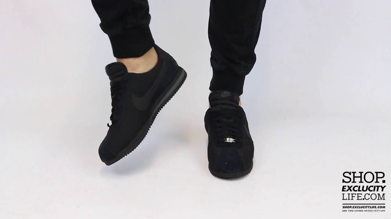 b2abddbb8ad Nike Cortez TXT Triple Black On feet Video at Exclucity - YouTube