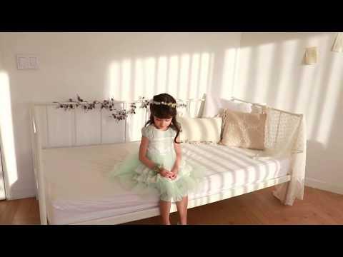 中大童夏季唯美浪漫淑女氣質蕾絲層層蛋糕蓬蓬洋裝裙~淺綠色~110-150