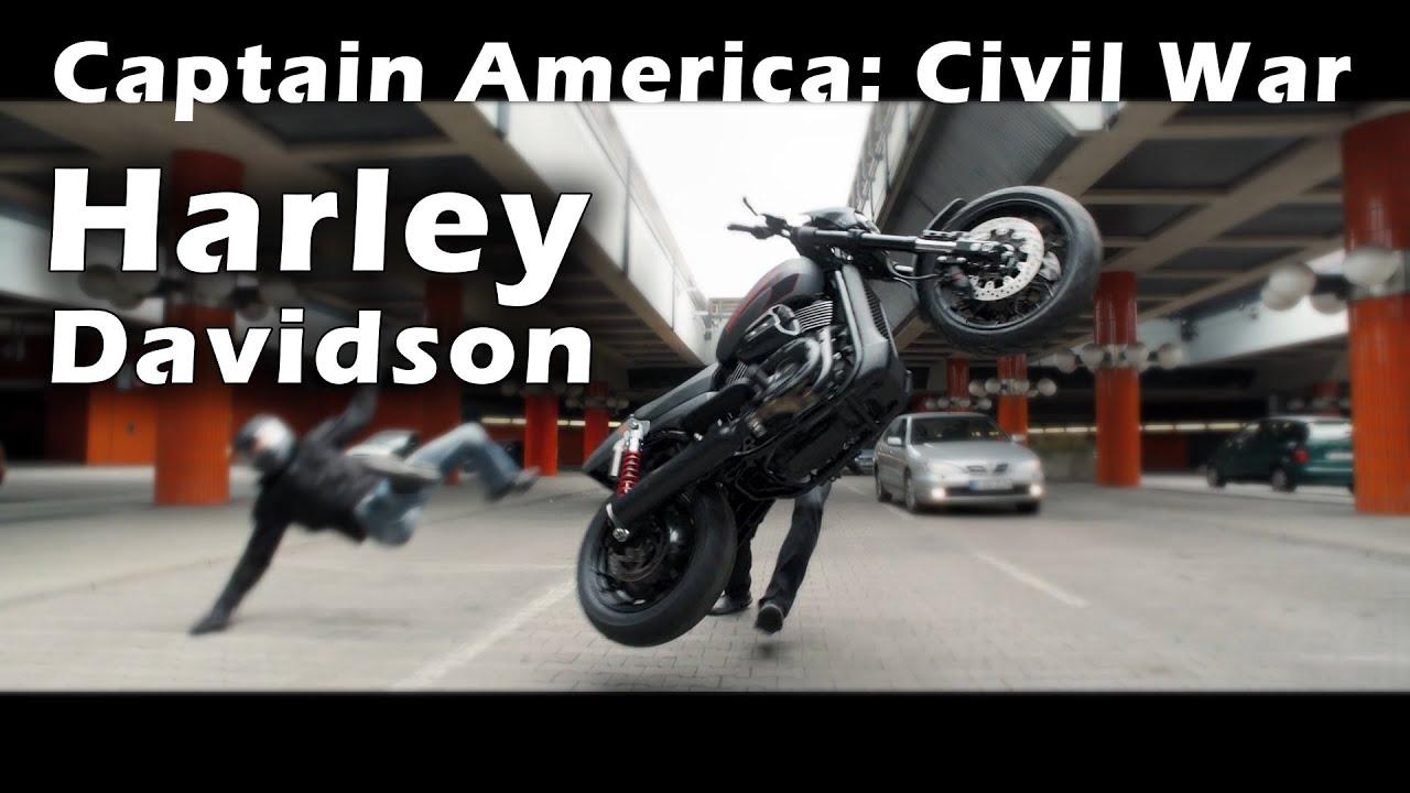 moto scene from movie captain america civil war sebastian stan on a harley davidson motorcycle. Black Bedroom Furniture Sets. Home Design Ideas