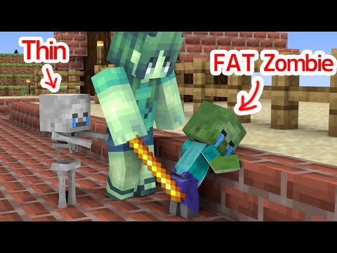 Monster School : Fat Baby Zombie and Thin Baby Skeleton - Sad Story - Minecraft Animation