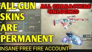 INSANE FREE FIRE ACCOUNT ALL THE THINGS ARE OWNED