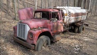 Abandoned trucks in woods in America. Abandoned pickup in USA. Abandoned semi truck