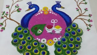 Sankranti Special Peacock Rangoli Design |  two beautiful peacock kolam sankranti Special Rangoli