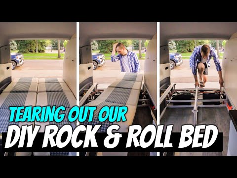 We TORE APART Our ROCK AND ROLL BED! Tour Our 8020 DIY Minivan Camper Bed System!