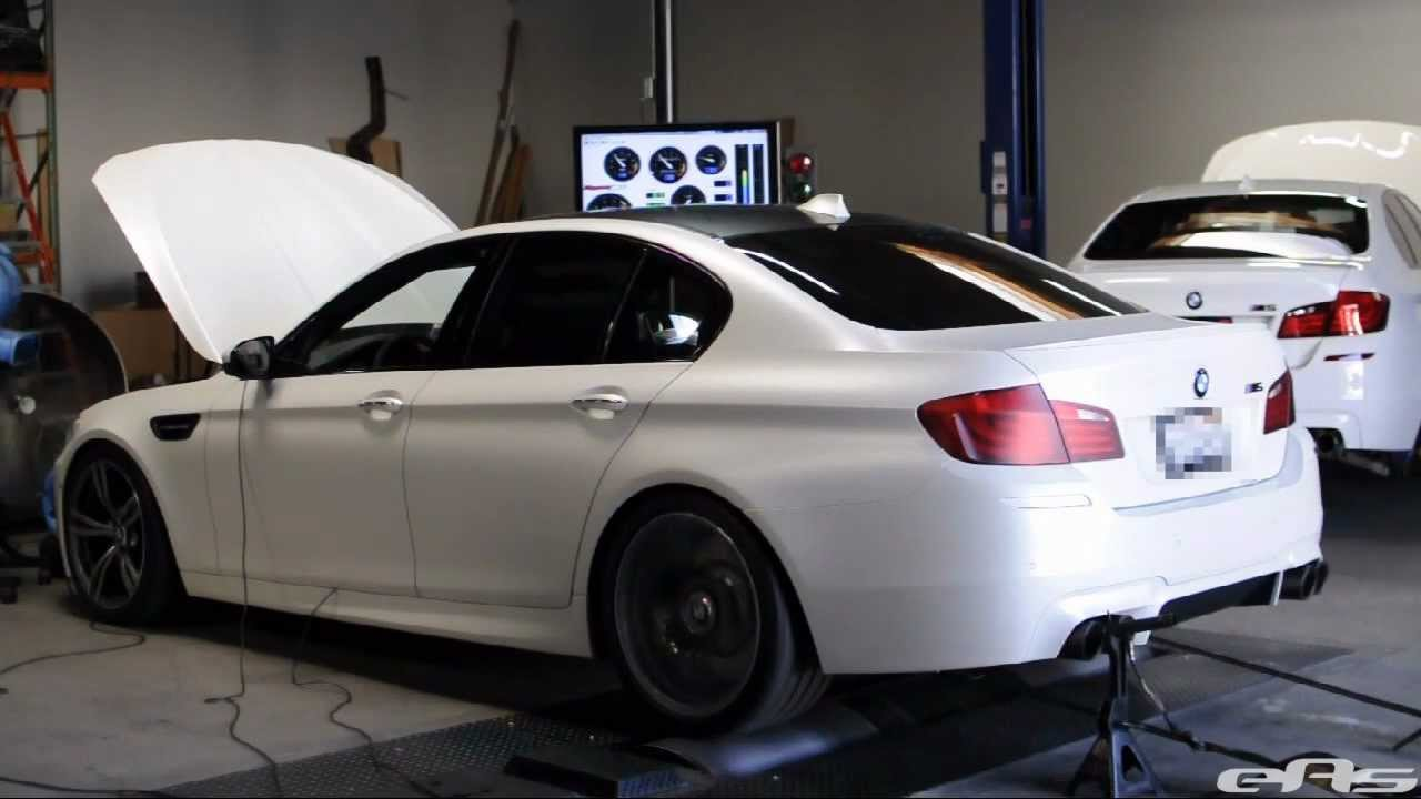 Frozen White Bmw F10 M5 Akrapovic Evolution Exhaust Dyno