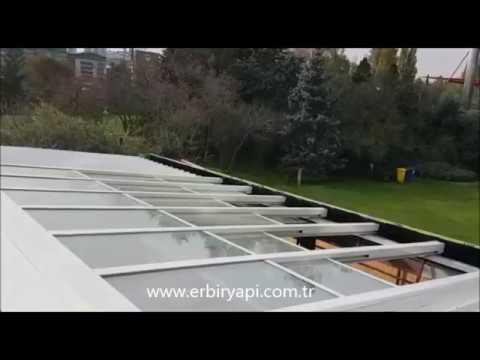 ERBİR YAPI, sliding glass roof systems restaurant cafe, sliding roof