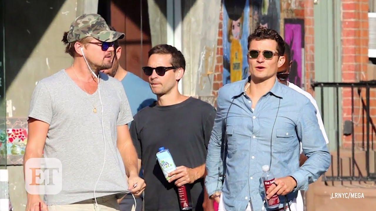 ce9fa95ebbbc Leonardo DiCaprio, Orlando Bloom, and Tobey Maguire Take a Bro Stroll in NYC