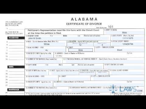 Alabama Certificate Of Divorce
