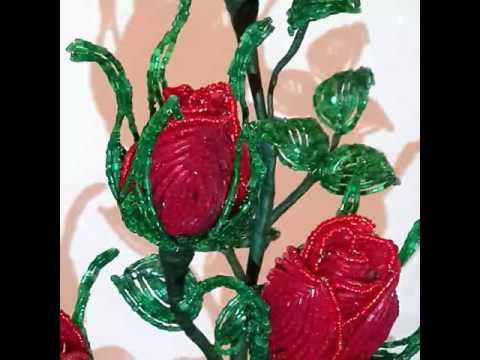 Розы из бисера. 2016.