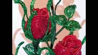 Розы из бисера. 2016.(Красная композиция сделана из блестящей рубки и бисера!!! От закрытого бутона,чуть-чуть открытого по ступен..., 2016-09-13T20:17:44.000Z)