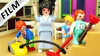 Playmobil Film deutsch BÖSE LEHRERIN ALS PUTZFRAU - Kinder müssen Luxusvilla reinigen  Familie Vogel