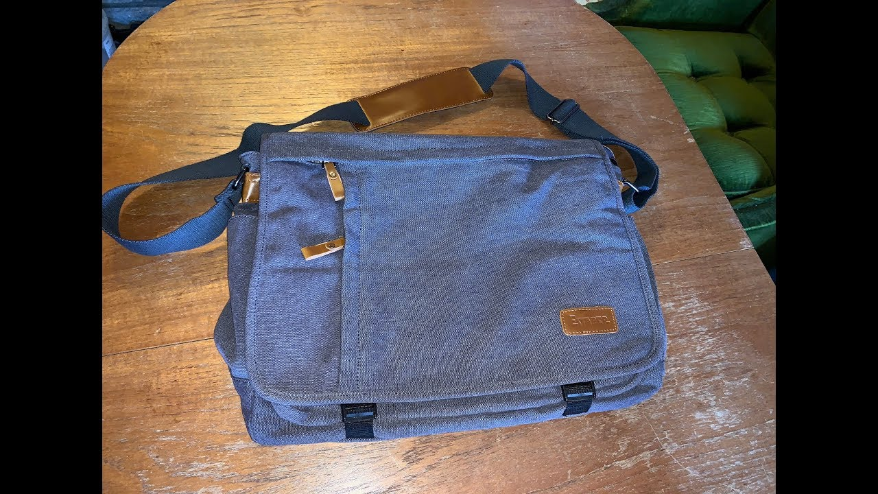 Estarer 17 3 Inch Laptop Canvas Leather Mans Messenger Bag Unng
