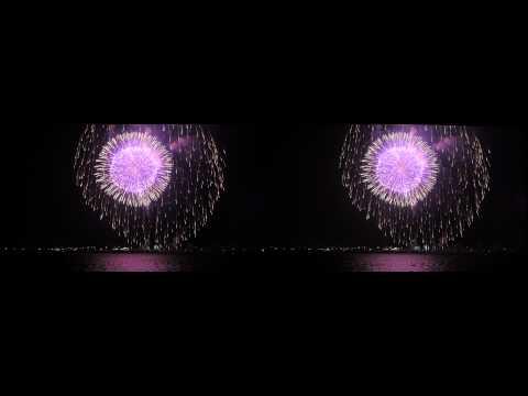 Feuerwerk in 3D Stereoskopie