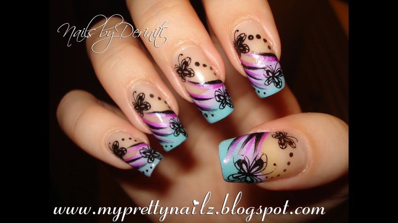 Beautiful Butterfly Tips Easy Ombre French Mani With Butterflies Tribal Pattern Nail Art Tutorial