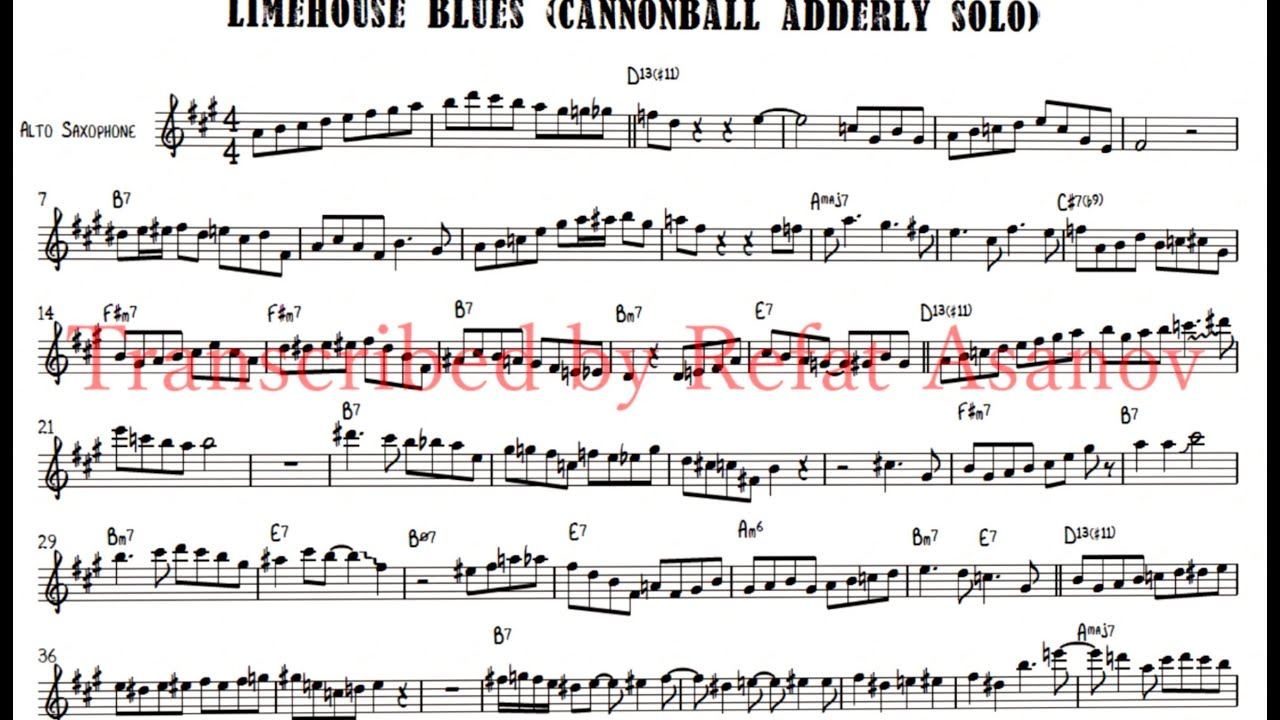 Limehouse Blues Cannonball Adderley Alto Saxophone Hot Solo (Transcribed by  Refat Asanov)