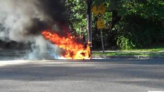Motorcycle lit on fire.