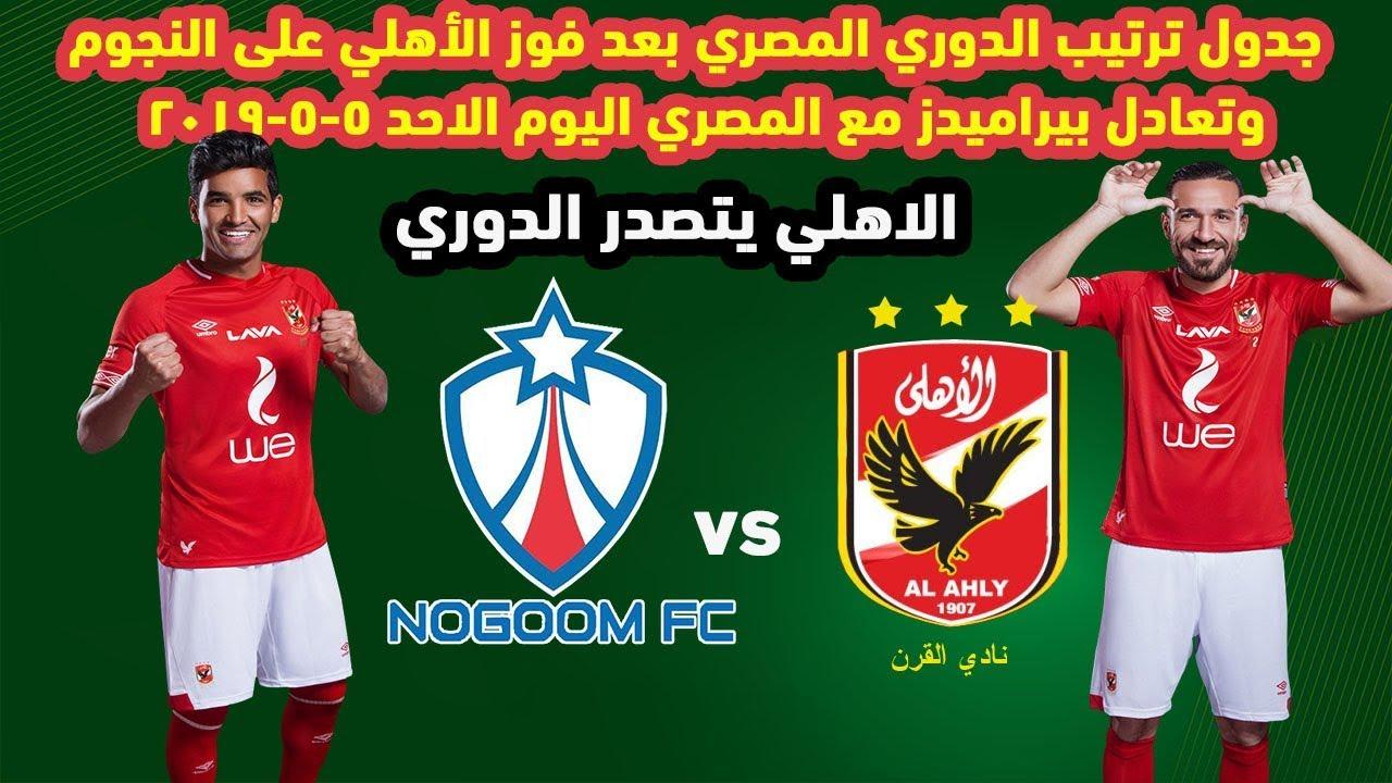 جدول ترتيب الدوري المصري بعد فوز الأهلي على النجوم وتعادل بيراميدز مع المصري اليوم