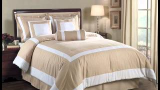 7 Pieces Champagne And White Hotel Block Embossed Leaf Comforter; Bedding Ensembles